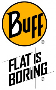 BUFF® logo+ FLAT IS BORING vertical for sports line CMYK