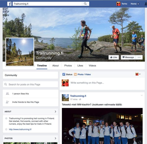 Trailrunning.fi facebook screenshot