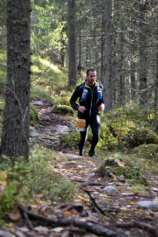 Syksyn lehtien peittämiä kiviä ja juuria. Vaarojen Maratonia ja Ryläystä aidoimmillaan.